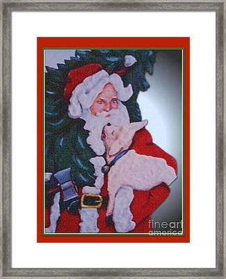 Santa And A Lamb Framed Print by Marylyn Wiedmaier