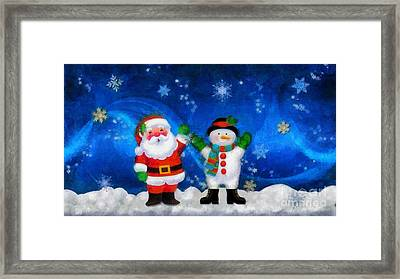 Santa And Frosty Painting Image With Canvased Texture Framed Print by Catherine Lott