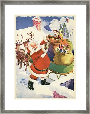 Santa And His Bags Of Toys On Christmas Eve Framed Print by American School