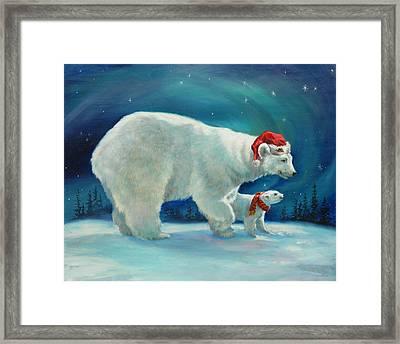 Santa Bear Framed Print by Laurie Hein