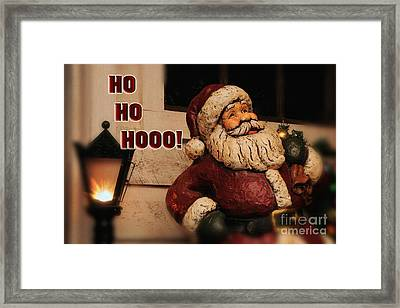 Santa Claus Christmas Card Framed Print by Lois Bryan
