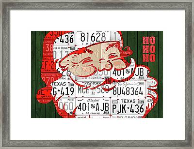 Santa Claus Ho Ho Ho Recycled Vintage Colorful License Plate Art Framed Print by Design Turnpike