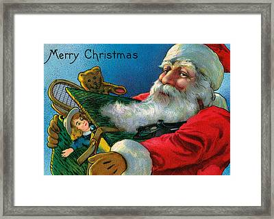 Santa Claus Holding Toys Framed Print by American School
