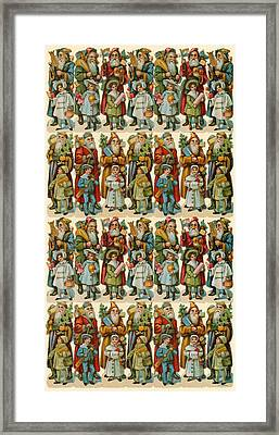 Santa Claus With Children Framed Print by American School