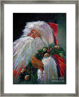 Santa Claus With Sleigh Bells And Wreath  Framed Print by Shelley Schoenherr