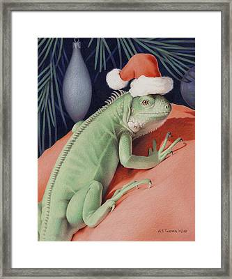 Santa Claws - Bob The Lizard Framed Print by Amy S Turner