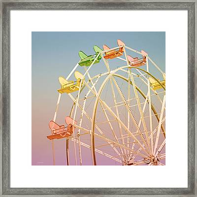 Santa Cruz Ferris Wheel Framed Print by Linda Woods