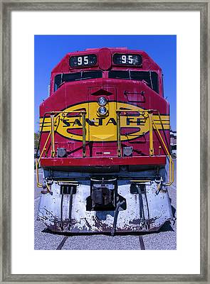 Santa Fe Train Head On Framed Print by Garry Gay