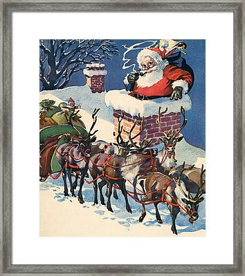 Santa Going Down A Chimney On Christmas Eve Framed Print by American School