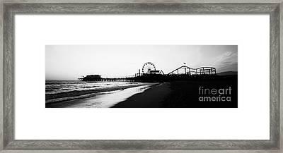 Santa Monica Pier Black And White Panoramic Photo Framed Print by Paul Velgos