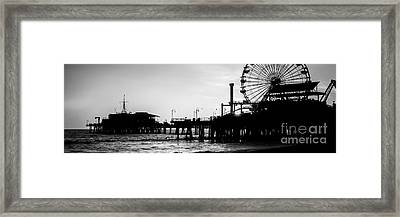 Santa Monica Pier Black And White Panoramic Picture Framed Print by Paul Velgos