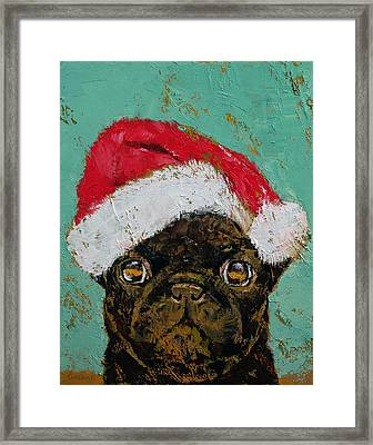 Santa Pug Framed Print by Michael Creese