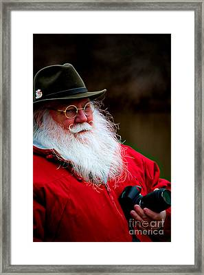 Santa Taking Photos On His Day Off Framed Print by Kathy Liebrum Bailey