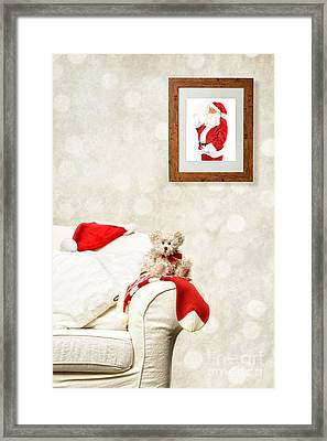 Santa Watching Teddy Framed Print by Amanda And Christopher Elwell