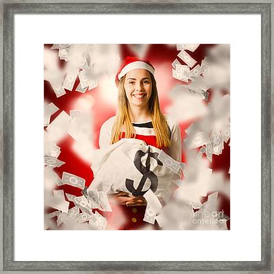 Santa Woman Celebrating A Money Bag Win Framed Print by Jorgo Photography - Wall Art Gallery