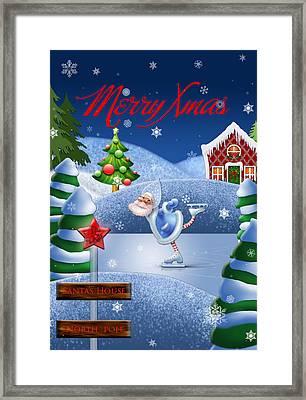Santa's House - North Pole English Text  Framed Print by Maggie Terlecki