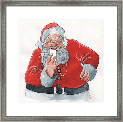Santa's New Ipod Framed Print by Don Pedicini