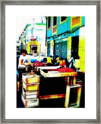 Santiago Fruit Stalls Framed Print by Funkpix Photo Hunter