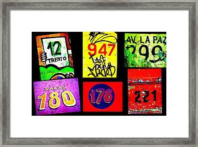 Santiago Street Numbers Framed Print by Funkpix Photo Hunter