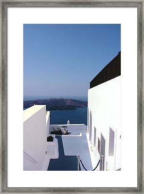 Santorini Blue Framed Print by Julie Palencia