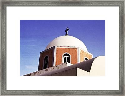 Santorini Church Framed Print by Andrew Soundarajan
