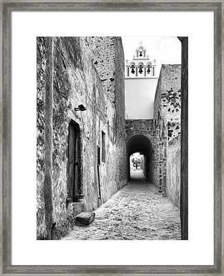 Santorini Passageway Bw Framed Print by Phyllis Taylor