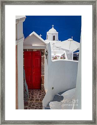Santorini Red Door Framed Print by Inge Johnsson