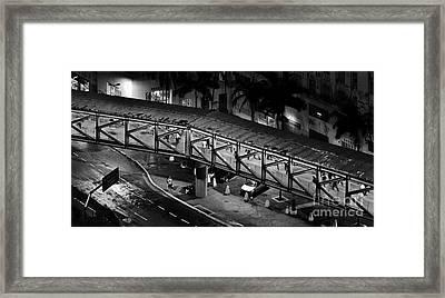 Sao Paulo - Metallic Footbridge At Night Framed Print by Carlos Alkmin