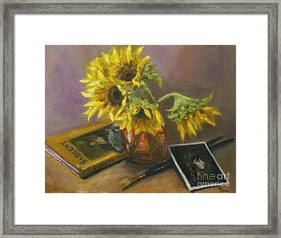 Sargent And Sunflowers Framed Print by Lisa  Spencer