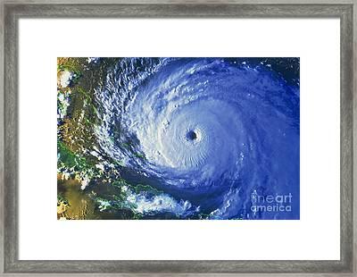 Satellite Image Of Hurricane Floyd Framed Print by NASA / Science Source