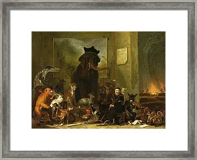 Satire On The Trial Of Johan Van Oldenbarneveldt Framed Print by Cornelis Saftleven