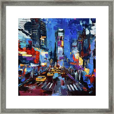 Saturday Night In Times Square Framed Print by Elise Palmigiani