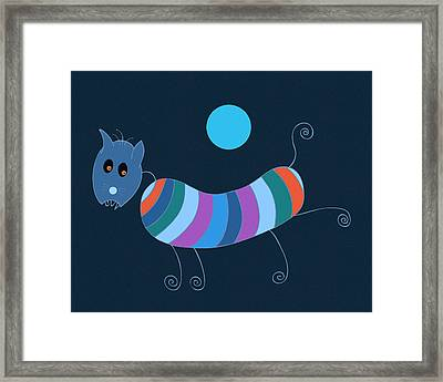 Sausage Dog In Blue Moon Framed Print by Frank Tschakert