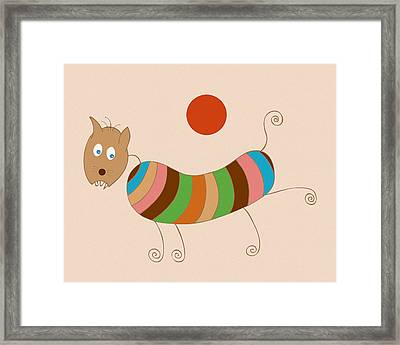 Sausage Dog In Ketchup Sunset Framed Print by Frank Tschakert