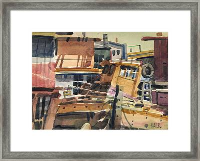 Sausalito House Boats Framed Print by Donald Maier