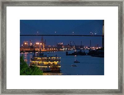 Savannah Harbor At Night Framed Print by Leslie Lovell