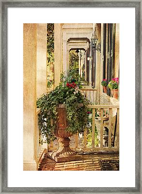 Savannah Porch Framed Print by Kim Hojnacki