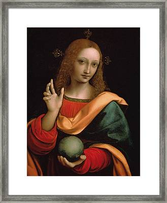 Saviour Of The World Framed Print by Giovanni Pedrini Giampietrino