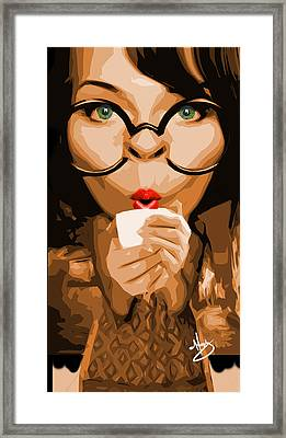 Savvy Sipper Framed Print by Moxxy Simmons