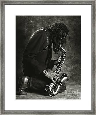 Sax Player 1 Framed Print by Tony Cordoza