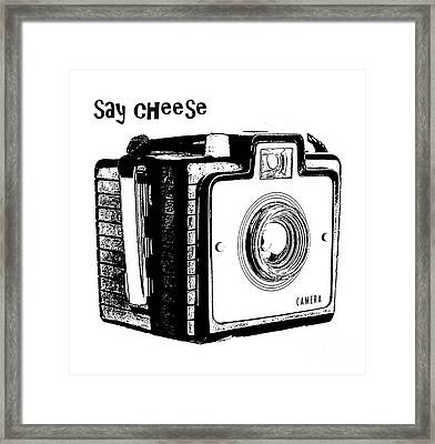Say Cheese Old Camera T-shirt Framed Print by Edward Fielding