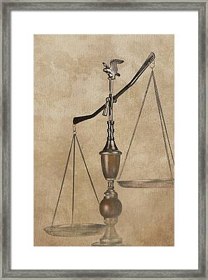 Scales Of Justice Framed Print by Tom Mc Nemar