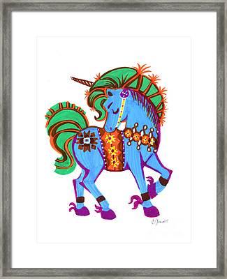 Scandinavian Dala Unicorn Blue Framed Print by Christina Siravo