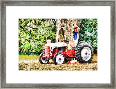 Scarecrow And Pumpkins 2 Framed Print by Lanjee Chee