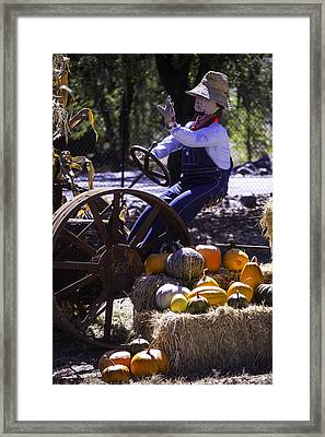 Scarecrow On Tractor Framed Print by Garry Gay
