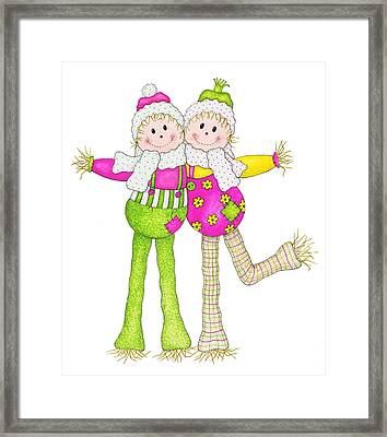 Scarecrow Pals Framed Print by Sandra Moore