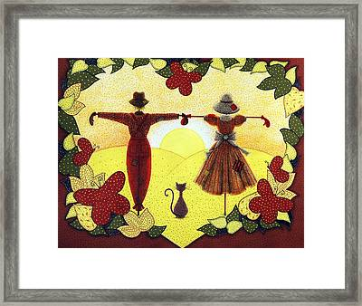 Scarecrow Sunset Framed Print by Sandra Moore