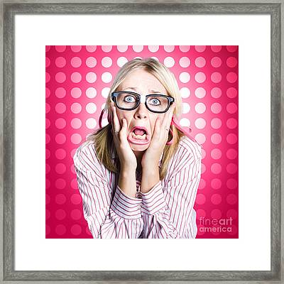 Scared Goofy Business Person Expressing Fear Framed Print by Jorgo Photography - Wall Art Gallery