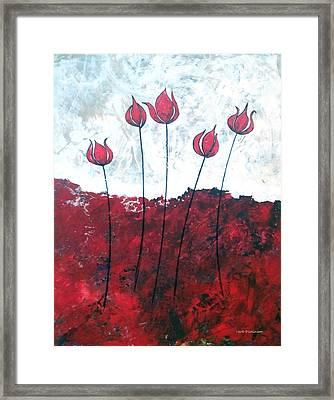 Scarlet Blooms Framed Print by Herb Dickinson