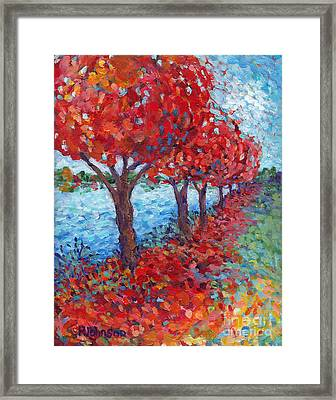 Scarlet Path Framed Print by Peggy Johnson